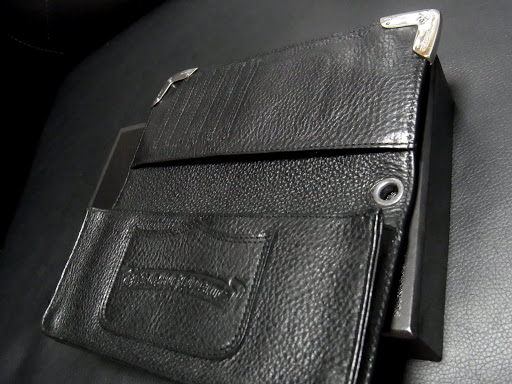 CHROME HEARTS WALLET LONG SINGLE FOLD WITH TIPS BLACK HEAVY LEATHER WITH GRMT