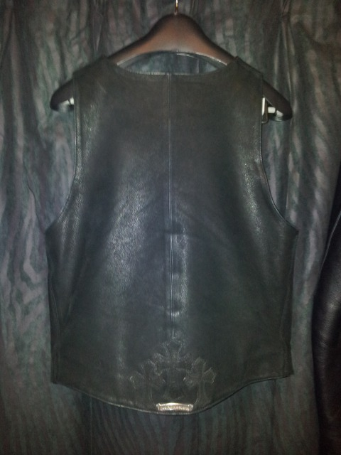 CHROME HEARTS LEATHER VEST MEN'S 2BUTTON HOLE BLACK