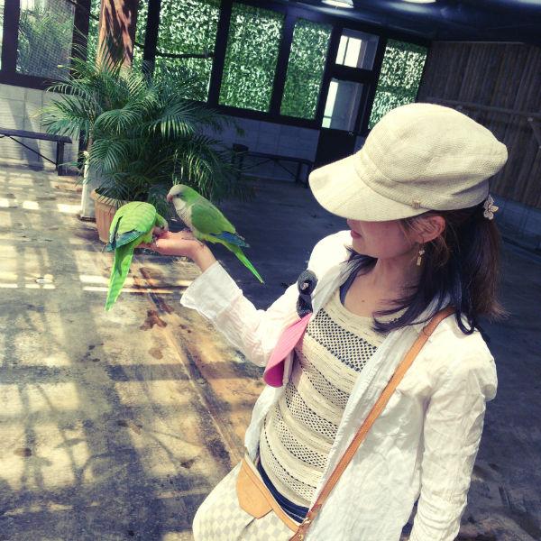 鳥と遊ぶ妻