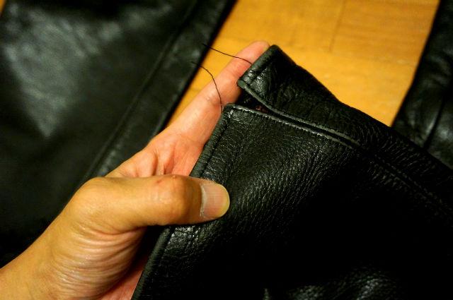 クロムハーツ レザーパンツ 裾の解れ